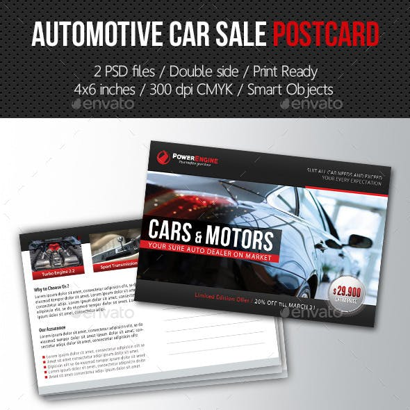 Automotive Car Sale Postcard Template V02