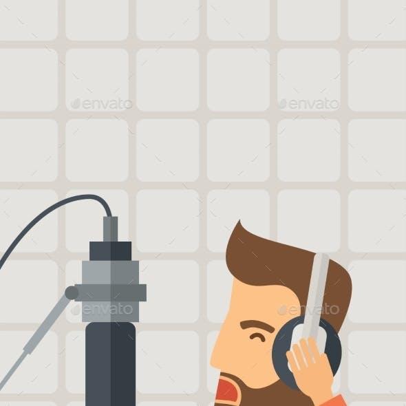 DJ Working In a Radio Station