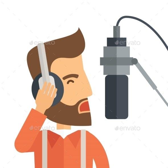 DJ With Headphone And Microphone
