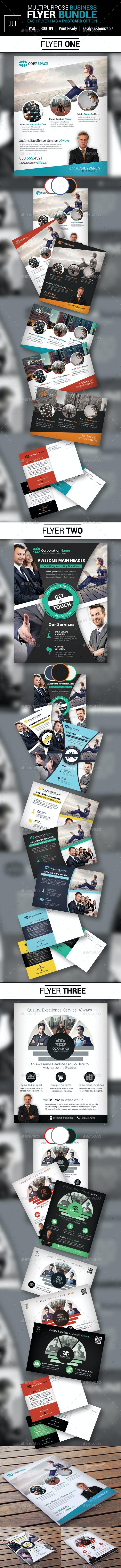 Business Flyer Bundle with Postcard Options - Corporate Flyers
