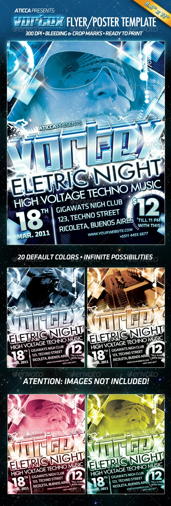 Vortex - Tecno Flyer/Poster Template - Clubs & Parties Events
