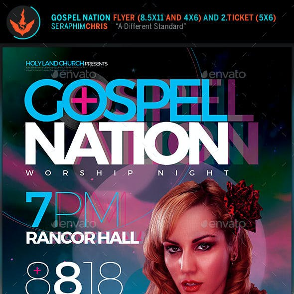 Gospel Nation Flyer and Ticket Template
