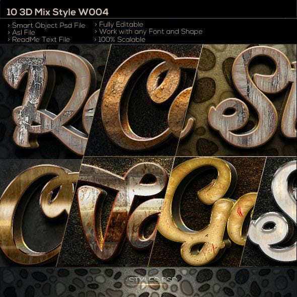 10 3D Text Style W004