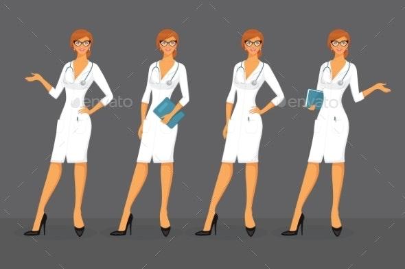 Woman Doctor in Various Poses - Health/Medicine Conceptual