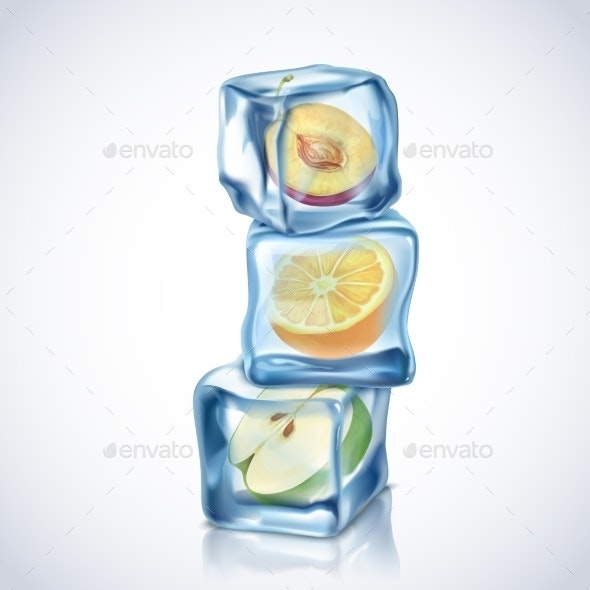 Ice Cubes With Fruits - Nature Conceptual