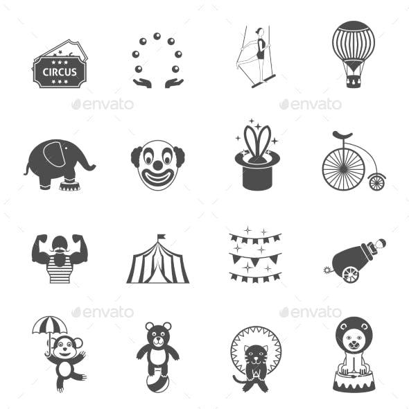 Chapito Circus Icons Set Black