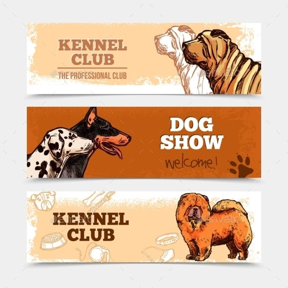 Dogs Banners Set