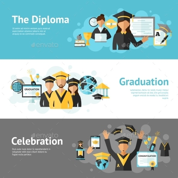 Graduation Banner Set - Miscellaneous Vectors
