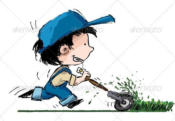 Boy Cutting Lawn - Characters Vectors