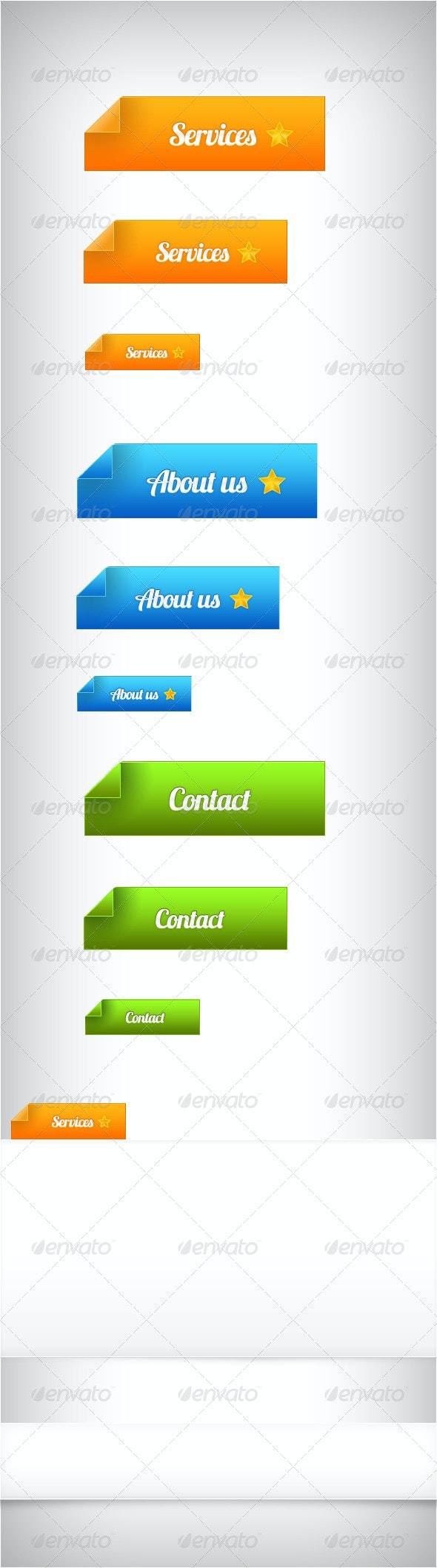 Page Corner Buttons Plus Two Borders - Buttons Web Elements