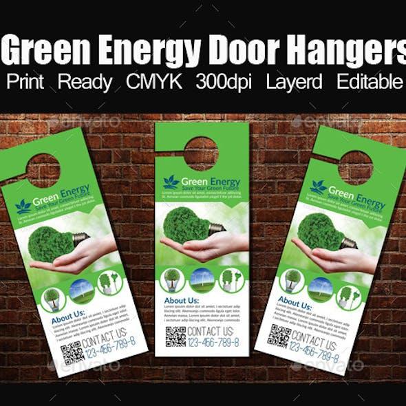 Green Energy Door Hangers Template