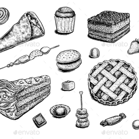 Collection of Hand Drawn Ink Desserts