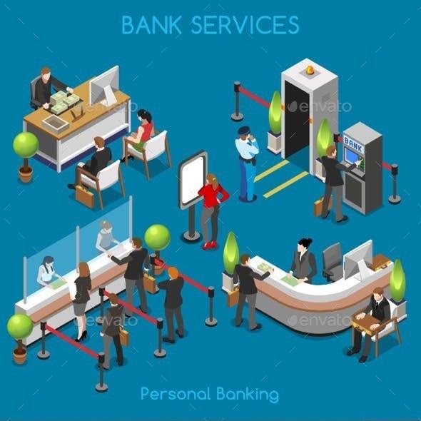 Bank Office 02 People Isometric