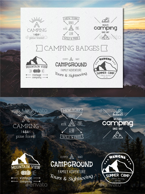 Outdoor Camping Badges and Logos - Badges & Stickers Web Elements