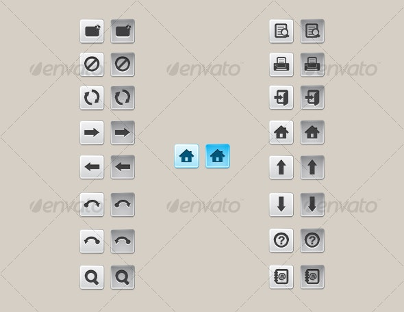 Vector Aluminum Toolbar Buttons v1 - Abstract Icons