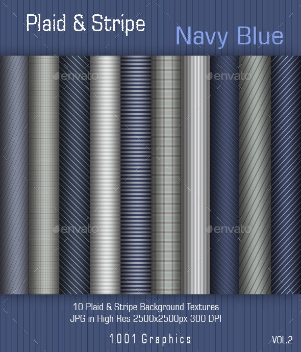 """10 Plaid & Stripe """"Navy Blue"""" Papers vol.2 - Backgrounds Graphics"""