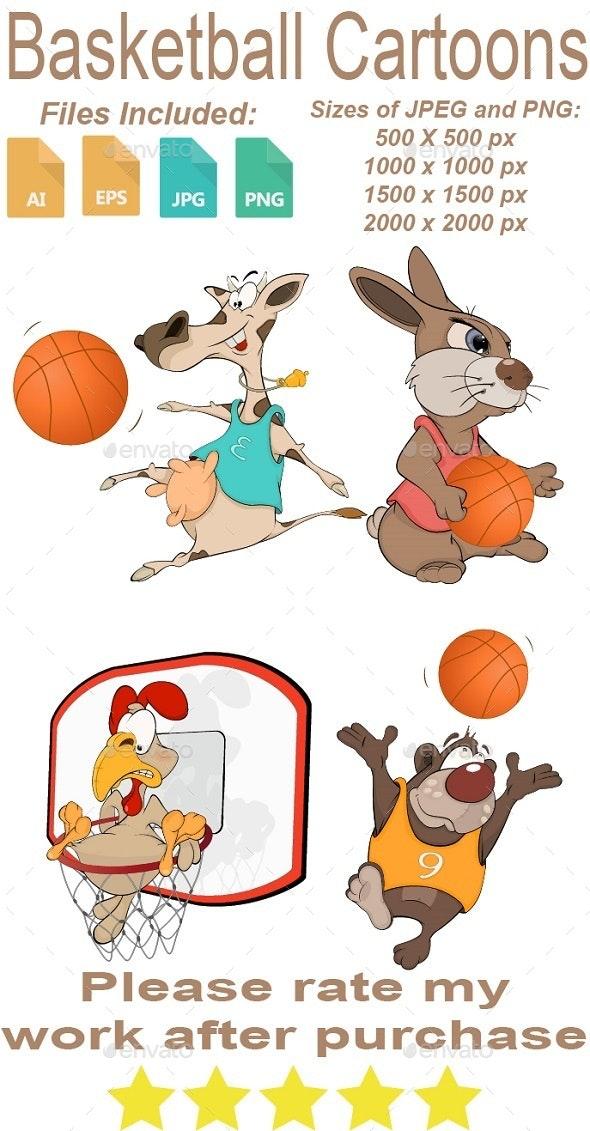 Basketball Cartoons 1 - Vectors