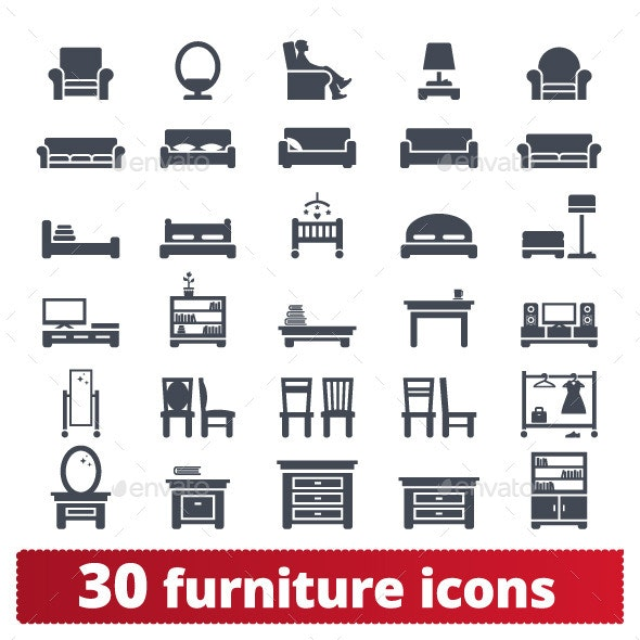 Furniture Icons - Man-made objects Objects