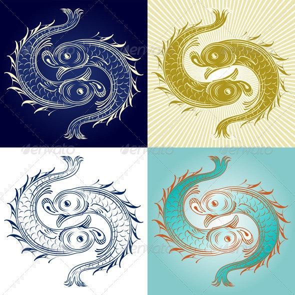 Set of Decorative Vintage Fish - Patterns Decorative