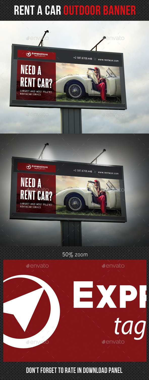 Rent A Car Outdoor Banner 09 - Signage Print Templates