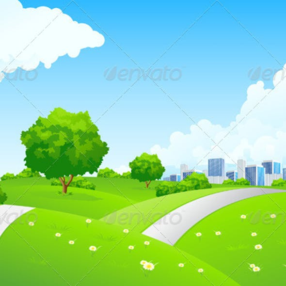 Landscape - Green Hills with Tree and Cityscape