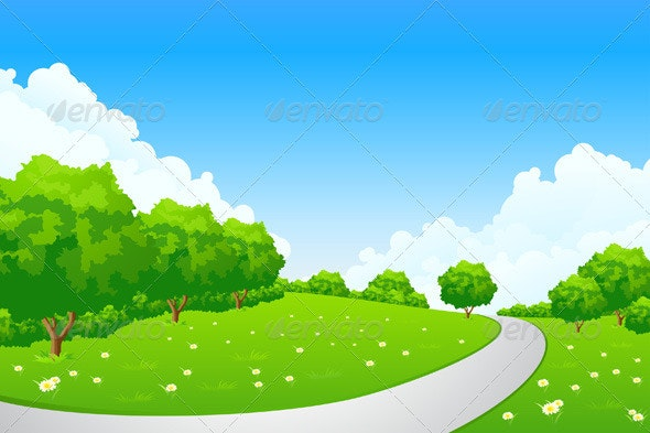 Landscape - Green Hill with Tree and Cloudscape - Landscapes Nature
