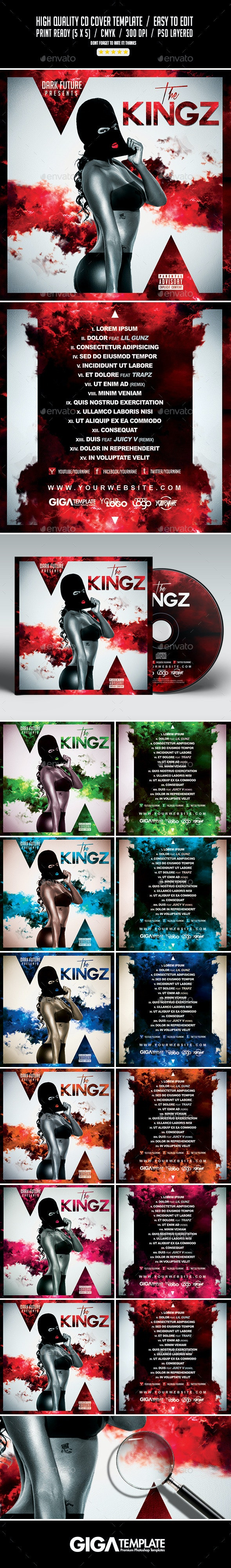 The Kingz | Mixtape Tape Album CD Cover Template - CD & DVD Artwork Print Templates