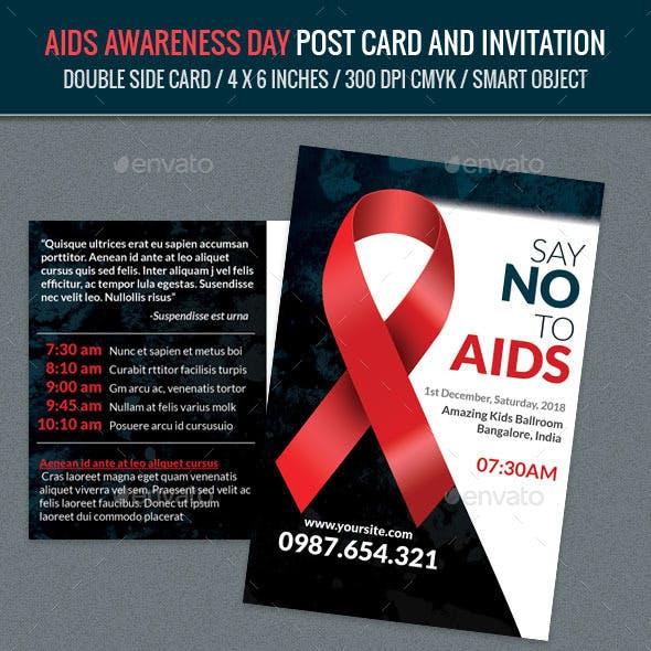 Aids Awareness Day Post Card Template