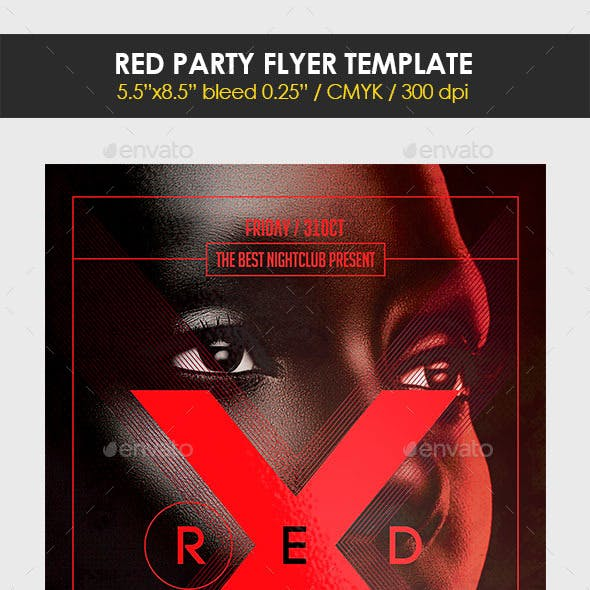 Red Party Flyer Template