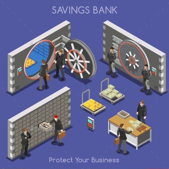 Bank Office 01 People Isometric