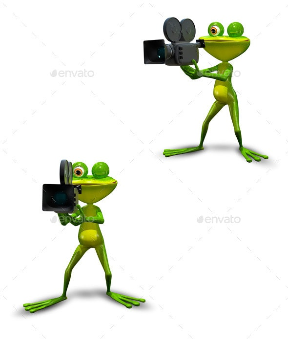 Frog with Camcorder - Animals Illustrations