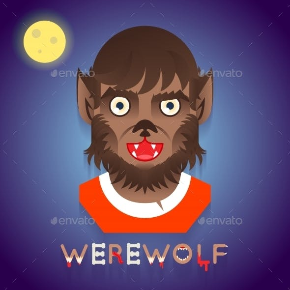 Halloween Party Werewolf Role Character Bust Icons