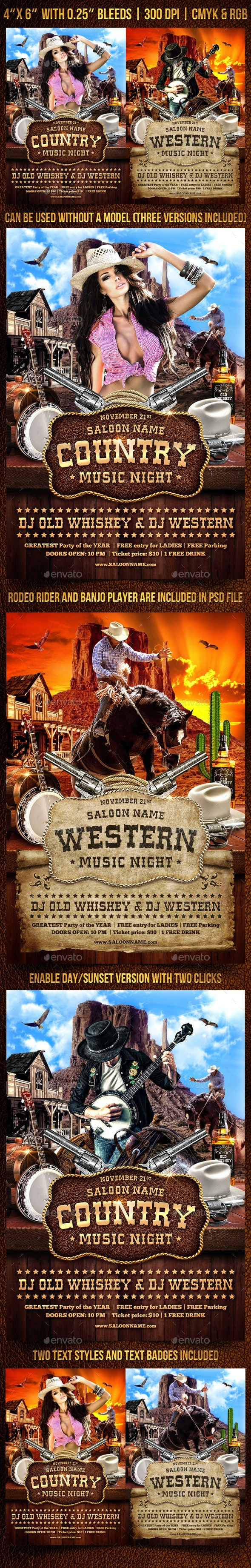 Country and Western Flyer Template - Clubs & Parties Events