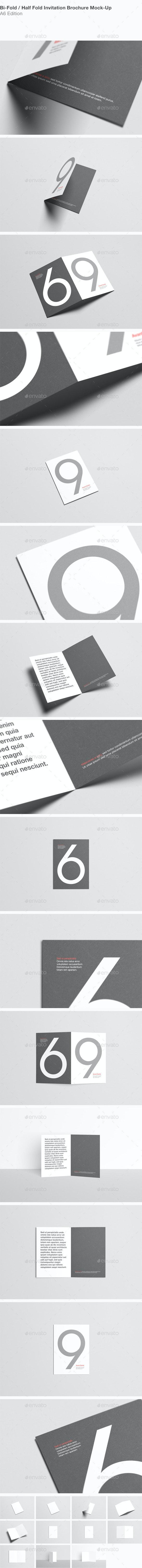 A6 Bi-Fold / Half-Fold Invitation Brochure Mock-Up - Brochures Print