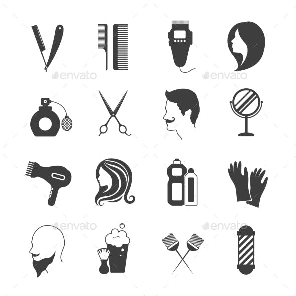 Hairdresser Icons Set