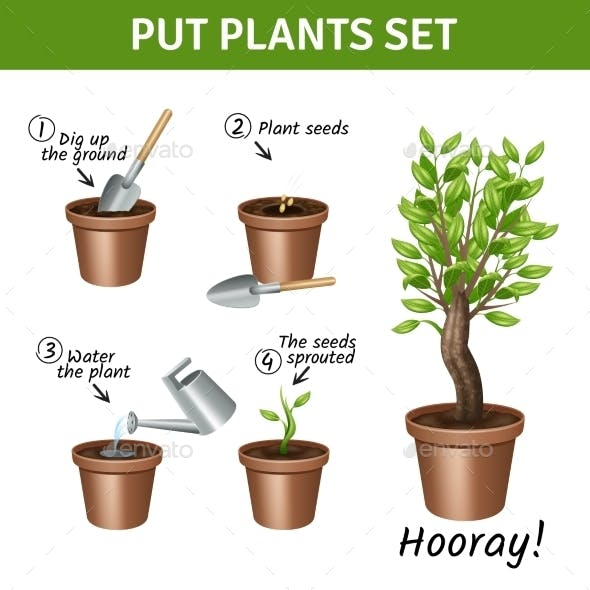 Putting  Plants Icons Set