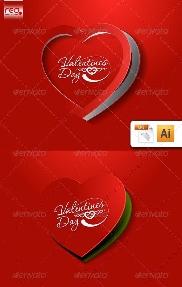 Valentine's day greeting card set - Valentines Seasons/Holidays