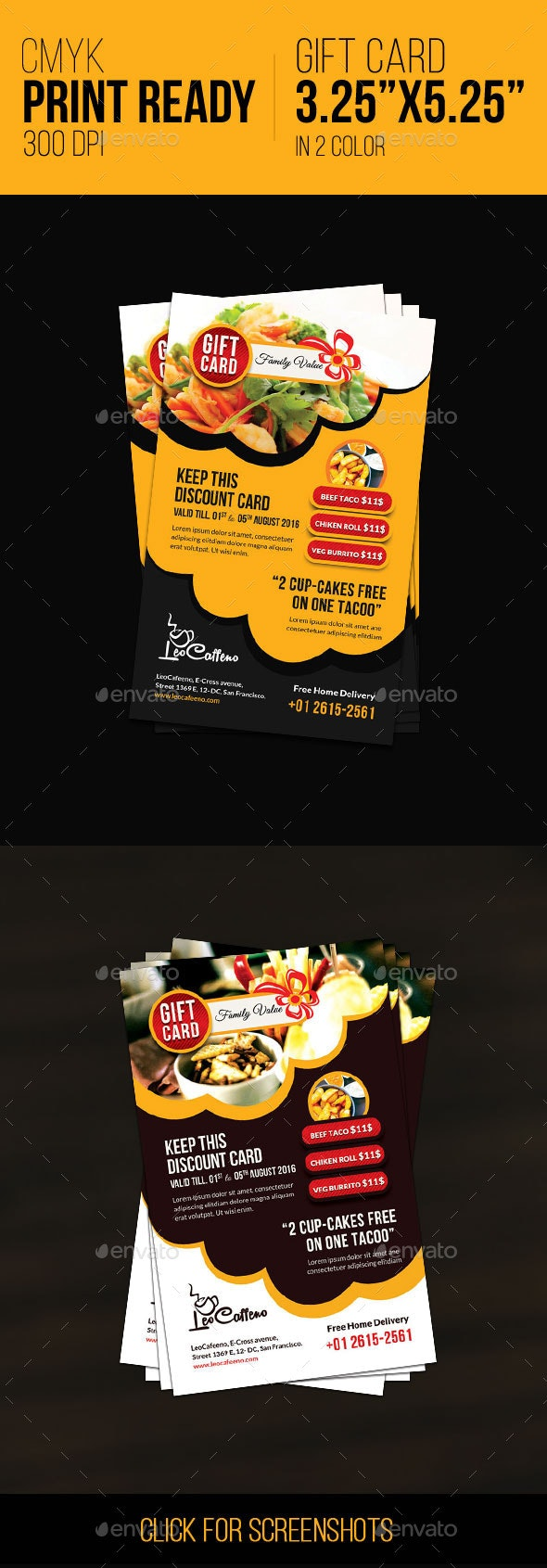 Food Coupon / Gift Card - Cards & Invites Print Templates