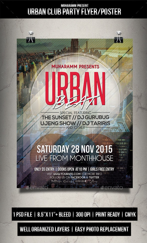 Urban Club Party Flyer / Poster - Events Flyers