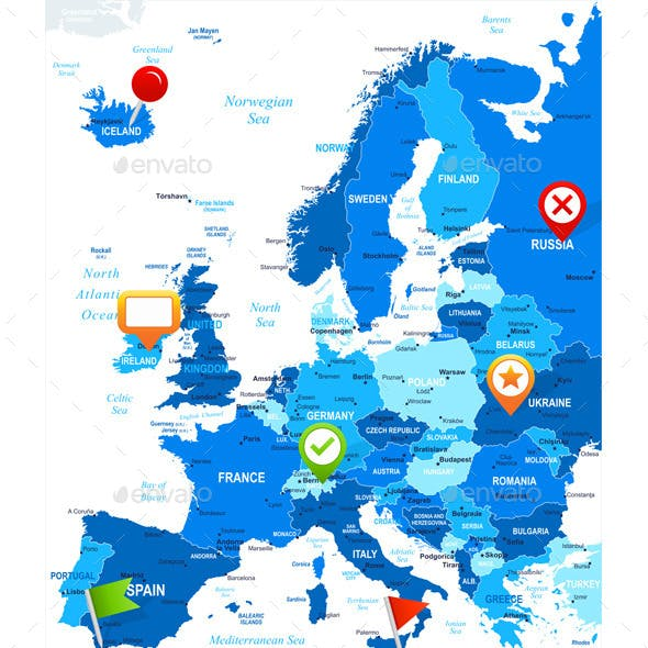 Europe Map and Navigation Icons