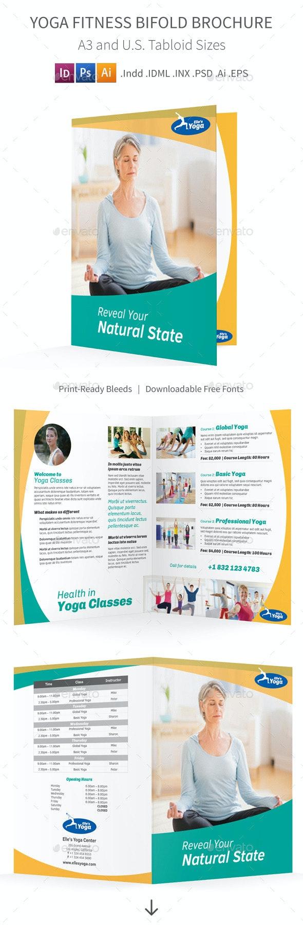 Yoga Fitness Bifold / Halffold Brochure - Informational Brochures