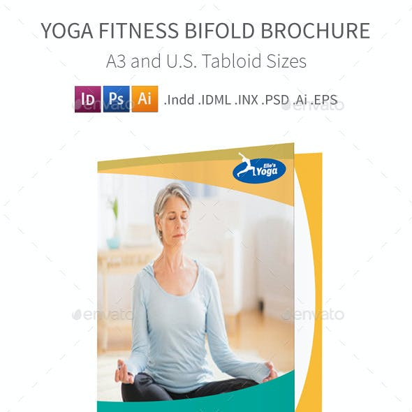Yoga Fitness Bifold / Halffold Brochure