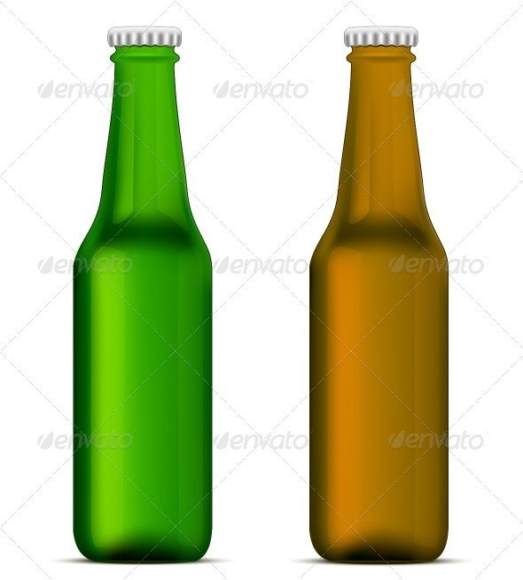 Green and Brown Beer Bottles - Objects Vectors