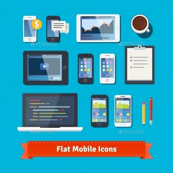 Mobile Development Flat Icons Set