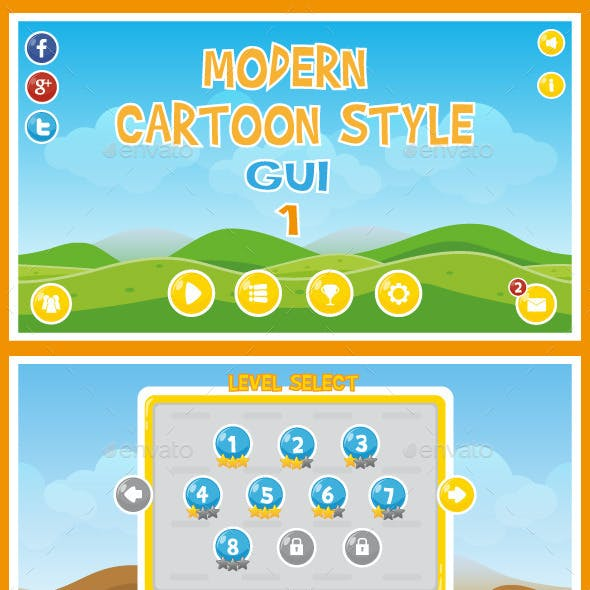 Modern Cartoon Style GUI 1
