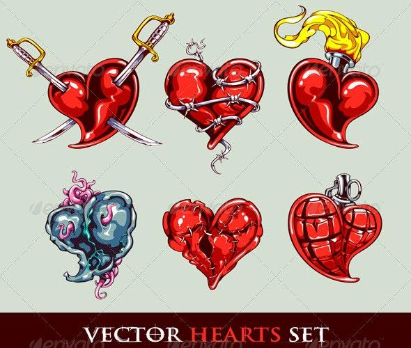 Set of Vector Tattoo Stylized Hearts - Tattoos Vectors