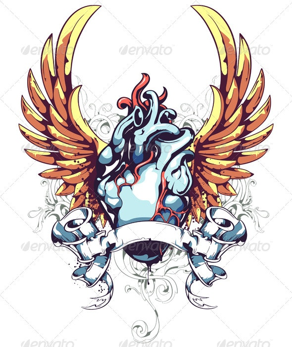 Anatomical Heart with Wings, Ribbon and Flourish - Tattoos Vectors