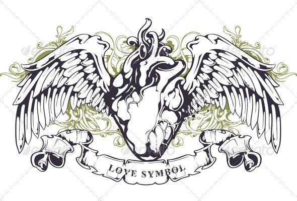 Anatomical Heart with Wings - Tattoos Vectors
