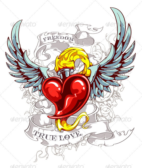 Burning Heart with Wings - Tattoos Vectors