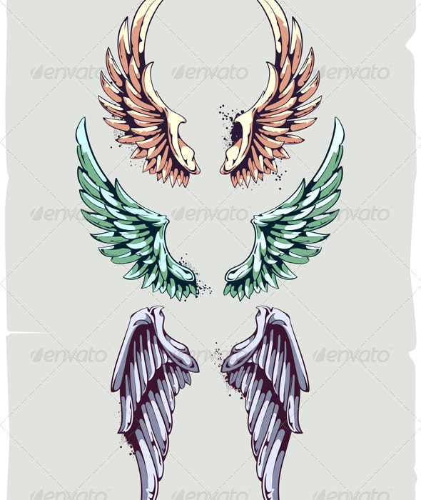 Wings for Your Vintage Design - Tattoos Vectors